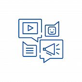 Media Online Library Line Icon Concept. Media Online Library Flat  Vector Symbol, Sign, Outline Illu poster