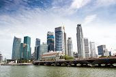 Singapore skyline of financial district with modern office buildings and Merlion Park as seen from E