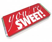 The sentiment You're Sweet printed on a red candy bar wrapper as a gift to a loved one or significan