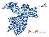 image of angel-trumpet  - Christmas Angel Trumpet Silhouette in Polka Dots with Merry Christmas Text Illustration - JPG