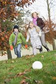 Woman With Children Playing Football With Autumn Leaves
