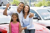 pic of car key  - Mother and father with young daughter shopping for a car - JPG