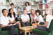 Pupils Sat In School Library