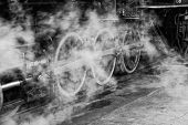 image of eerie  - The steam from the engine casts an eerie pattern. ** Note: Slight graininess, best at smaller sizes - JPG