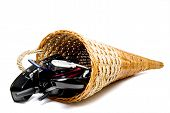 image of cornicopia  - A wicker cornucpia filled with communications equipment - JPG