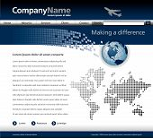 picture of web template  - Editable vector website template with a jet globe and map - JPG