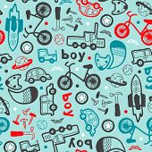 Seamless boys bike and car icon illustration background pattern in vector