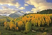 foto of mear  - Mount Sneffels Range with fall color, Colorado, USA