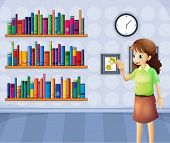 picture of librarian  - Illustration of a female librarian inside the library - JPG