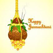 pic of mahabharata  - illustration of Happy Janmashtami with hanging dahi handi - JPG