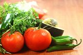 stock photo of cilantro  - Picante Salsa Ingredients of Avocado - JPG