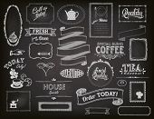 Chalkboard Ads, including frames, banners, swirls and advertisements for restaurant, coffee shop and