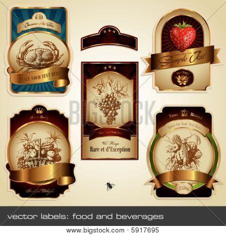 Постер, плакат: векторный набор Метки: Еда и напитки, холст на подрамнике