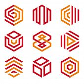 Hexagon shaped design elements 2. Abstract hexagonal vector symbols, red and orange.
