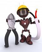 picture of wire cutter  - 3D Render of an android Builder with wire cutters - JPG