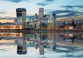 foto of london night  - London Skylines at dusk England UK at night - JPG