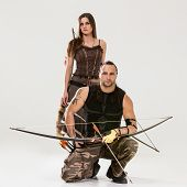 picture of longbow  - Young couple has some dangerous hobby - JPG