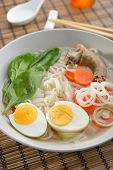 pic of duck egg blue  - Duck soup with rice pasta and vegetables - JPG