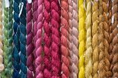 stock photo of silk worm  - the Colorful of raw silk thread background - JPG