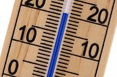 stock photo of oblique  - Oblique close up of an old fashioned Mercury blue room thermometer in celcius scale - JPG