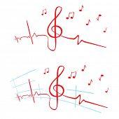 stock photo of ekg  - EKG of music - JPG