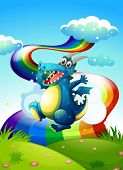 stock photo of hilltop  - Illustration of a dragon at the hilltop and a rainbow in the sky - JPG