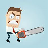 stock photo of man chainsaw  - angry man with chainsaw - JPG