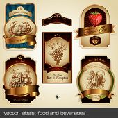 vector label set: food and beverages