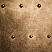 pic of stelles  - Closeup of grunge gold brown metal plate with rivets and screws as background or texture - JPG