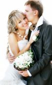 Young Adorable Bride And Groom Over White Portrait