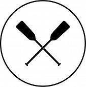 picture of paddling  - crossed canoe paddles symbol - JPG