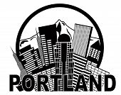 stock photo of portland oregon  - Portland Oregon Abstract Downtown City Skyline with Mount Hood Black and White Isolated on White Background Illustration - JPG