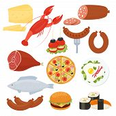 stock photo of takeaway  - Set of traditional vector food icons for a menu with a lobster  salami  pizza  cheeseburger  roast meat  fried eggs  sausage  fish  sushi  seafood  cheese and canape appetizers - JPG
