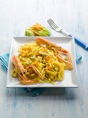 stock photo of norway lobster  - pasta with norway lobster zucchinis flower and saffron - JPG