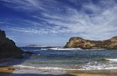 stock photo of papagayo  - Scenic view of beach on Gulf of Papagayo Lanzarote Canary Islands Spain - JPG