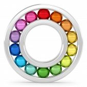 stock photo of ball bearing  - Bearing with colorful balls on white background - JPG