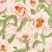 picture of garden snake  - Beautiful tropical seamless vintage flower background with snakes - JPG