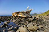 picture of sakhalin  - Broken fishing schooner on stone  - JPG