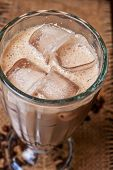 image of frappe  - Iced coffee closeup at table - JPG