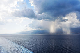 picture of messina  - confluence of different waters of the Ionian and Tyrrhenian Seas in Strait of Messina Italy - JPG