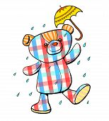 picture of scotch  - Scotch pattern teddy bear in the rain with umbrella illustration - JPG