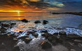 stock photo of incredible  - Incredible ocean bay with interesting rocks and swirling waters  - JPG