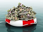 image of million-dollar  - Large pile of money floating on a life preserver - JPG