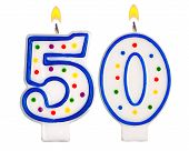 stock photo of 50th  - Birthday candles number fifty isolated on white background - JPG