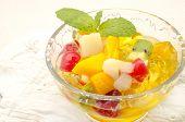 stock photo of fruit bowl  - Gelatin fruit salad served in a bowl - JPG