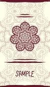 picture of indian wedding  - Vertical wedding Card with ornate mandala floral pattern - JPG