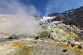 foto of volcanic  - Volcanic landscape of Kamchatka - JPG