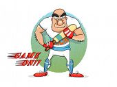 pic of cricket bat  - Funny cartoon of an angry man holding bat for Cricket sports concept - JPG
