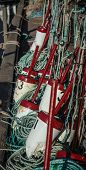 pic of lobster trap  - Colorful fishing buoys and lobster traps in Canada - JPG