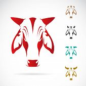 stock photo of cow head  - Vector image of cow head on white background - JPG